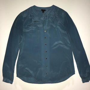 Ann Taylor Blue 100% Silk Button Down Blouse